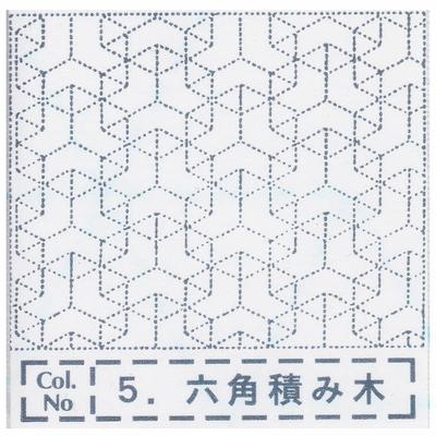 NH-05 NASKA 刺し子布ふきん 六角積み木 (白)