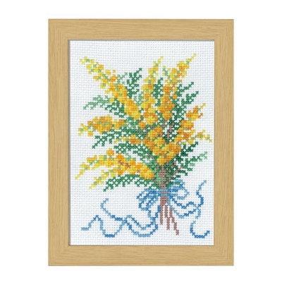 No.7507 オリムパス 刺繍キット 12ヶ月の花フレーム 2月 ミモザ