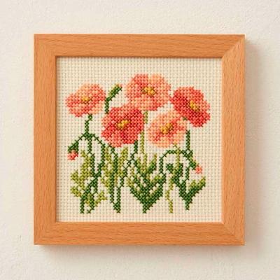 No.856 ルシアン 刺繍キット 小さな花のフレーム ポピー