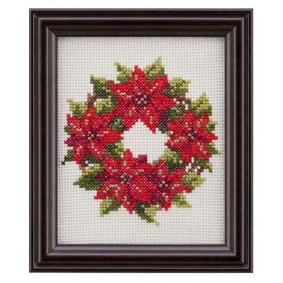 No.7632 ルシアン 刺繍キット 四季折々の花だより 12月 ポインセチア