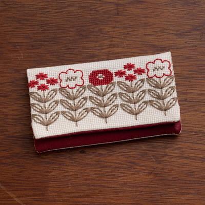 No.2307 ルシアン 地刺し カードケース 赤い花のサンプラー