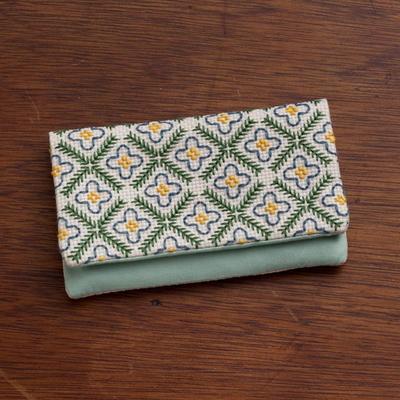 地刺し カードケース 青い花とラティス No.2306