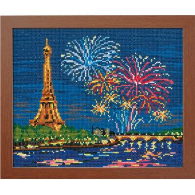 No.7477 オリムパス 刺繍キット ワールドセレクション エッフェル塔と花火 フランス