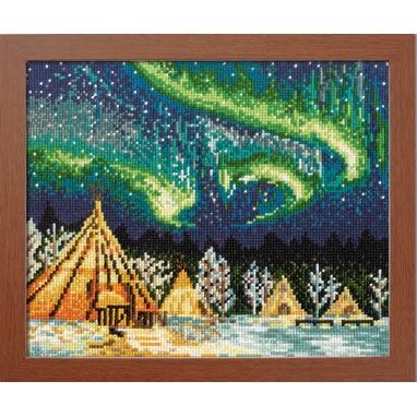No.7440 オリムパス 刺繍キット ワールドセレクション イエローナイフのオーロラ カナダ
