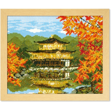 No.7416 オリムパス 刺繍キット 四季を彩る「日本の名所」 秋の金閣寺
