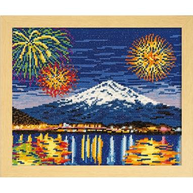 河口湖冬花火と富士山 刺繍キット No.7462