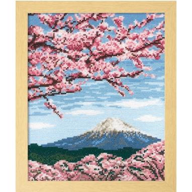 No.7386 オリムパス 刺繍キット 四季を彩る「日本の名所」 桜と富士山