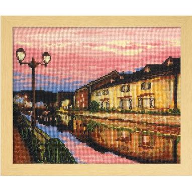 No.7387 オリムパス 刺繍キット 四季を彩る「日本の名所」 夕暮れの小樽運河