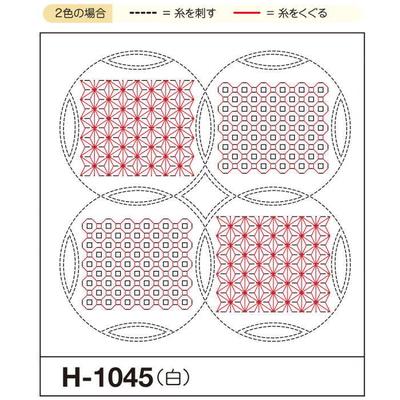 H-1045 オリムパス くぐり刺し 花ふきん布パック 麻の葉と銭刺し (白)