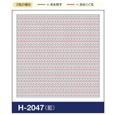 H-2047 オリムパス くぐり刺し 花ふきん布パック 亀甲花刺し (藍)