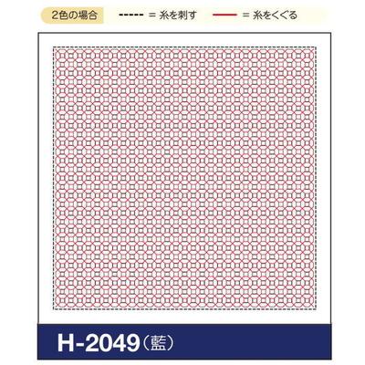 H-2049 オリムパス くぐり刺し 花ふきん布パック 銭亀 (藍)