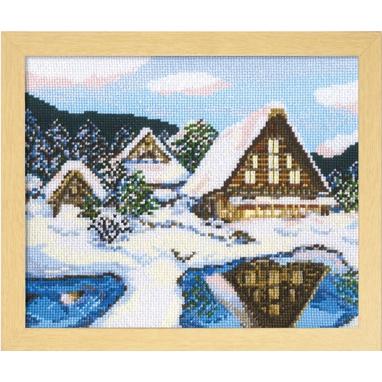 No.7389 オリムパス 刺繍キット 四季を彩る「日本の名所」 雪の白川郷