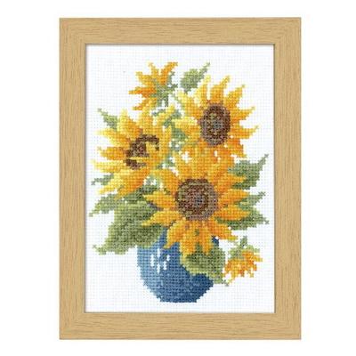 No.7514 オリムパス 刺繍キット 12ヶ月の花フレーム 8月 サンフラワー