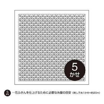 H-1076 オリムパス 一目刺し 花ふきん布パック お花畑 (白)