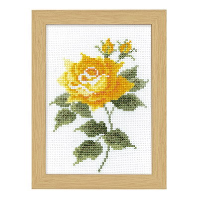 No.7517 オリムパス 刺繍キット 12ヶ月の花フレーム 10月 イエローローズ