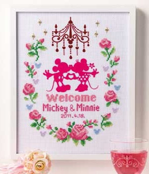 No.7372 オリムパス ディズニー刺繍キット ウェルカムボード ピンク
