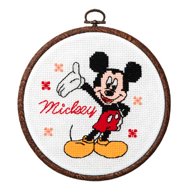 No.7319 オリムパス ディズニー刺繍キット ミッキーマウス おしゃれフープ付き
