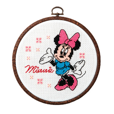 No.7320 オリムパス ディズニー刺繍キット ミニーマウス おしゃれフープ付き