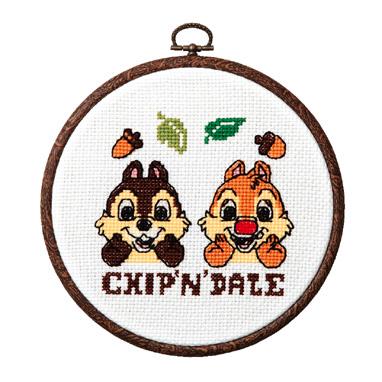 No.7321 オリムパス ディズニー刺繍キット チップ&デール おしゃれフープ付き