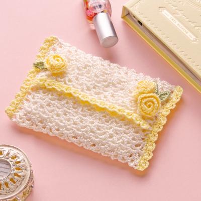 ローズモチーフのティッシュケース 編み物キット EG-96