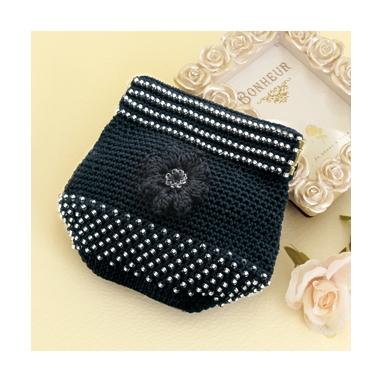 お花のポーチ 黒 編み物キット EG-109