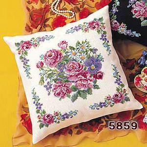 No.5859 オリムパス クッション刺繍キット ロマンティックフラワー