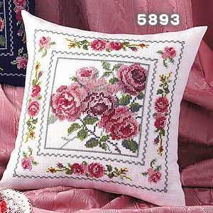 No.5893 オリムパス クッション刺繍キット エレガントローズ オフホワイト