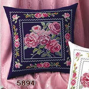 No.5894 オリムパス クッション刺繍キット エレガントローズ 紺