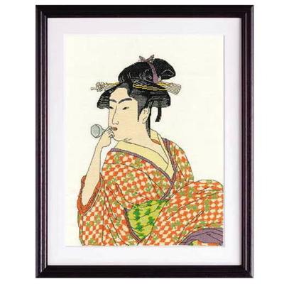 ポペンを吹く娘 喜多川歌麿 作 刺繍キット No.7185