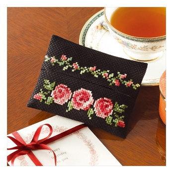 No.9015 オリムパス 花刺しゅうの優しい小物 ティッシュケース バラ
