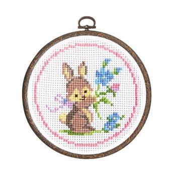 ウサギとお花 かんたんクロス・ステッチ おしゃれフープ付き No.7402