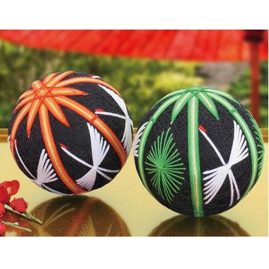 朱竹と鶴・若竹と松 お正月などの縁起物の飾りに 手まりキット TM-12