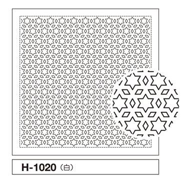 一目刺しの花ふきん布パック 星と三つ菱 白 H-1020