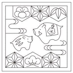 亥と松竹梅 白 花ふきん布パック H-1055