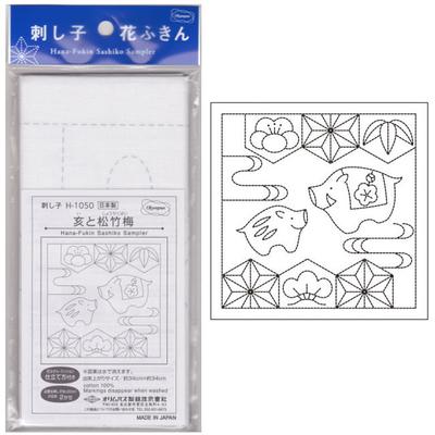 亥と松竹梅 白 花ふきん布パック H-1050