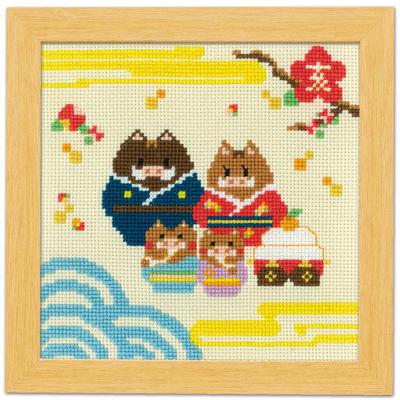 イノシシ家族と鏡餅 No.7505
