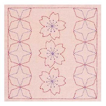 桜と角七宝 花ふきんキット 刺し子243