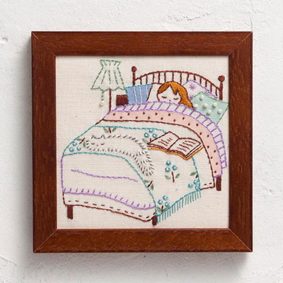 No.839 ルシアン 刺繍キット ねこと暮らす毎日 BED ROOM