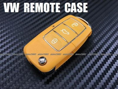 VW フォルクスワーゲン 交換用 リモコンケース キーレスカバー ブランクキーケース 鍵 黄系色