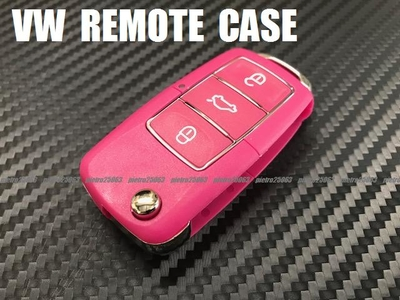 VW フォルクスワーゲン 交換用 リモコンケース キーレスカバー ブランクキーケース 鍵 桃系色