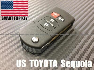 08y- USトヨタ セコイア ブランクキーカスタム品 ジャックナイフタイプ キーレス リモコン 一体型 フリップキー 鍵 TYPE414