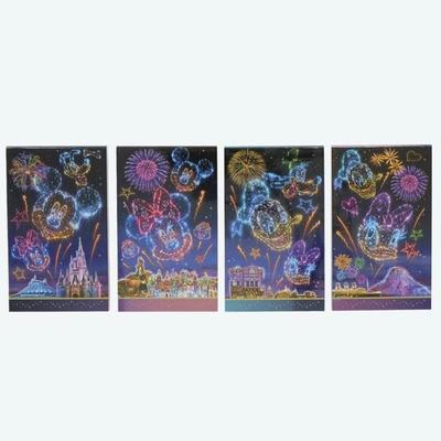 東京ディズニーリゾート 通販 ディズニー 夜空 メモ 4個セット リゾートナイト 無料ギフトラッピング TDR ディズニーランド ディズニーシー おみやげ お土産 メモ帳
