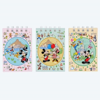 東京ディズニーリゾート The Tokyo Disney Resort シリーズ ディズニー 通販 オールキャラクター メモ  3個セット 無料 ギフトラッピング ランド シー メモ帳 リングメモ