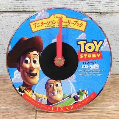 【非売品】ディズニー 通販 時計 CD型 クロック 無料ギフトラッピング トイ・ストーリー  PCソフト ノベルティー 新品 置き時計 箱無し ディズニーインタラクティブ
