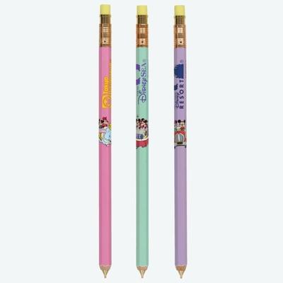 東京ディズニーリゾート ディズニー 通販 レトロ パークシーン 鉛筆型 シャープペン 3本セット 無料 ギフトラッピング TDR おみやげ お土産 ディズニーランド ディズニーシー