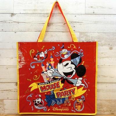 香港ディズニーランド ディズニー ミッキーマウス リユースバッグ Lサイズ ファスナー付き マウスパーティー エコバッグ 無料ギフトラッピング ミッキー HKDL 折りたたみバッグ