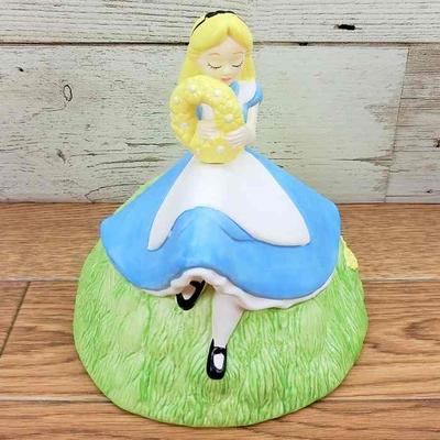 ディズニー 通販 アリス 花 貯金箱 無料ギフトラッピング バンク 陶器 ふしぎの国のアリス 割らずに取り出し可能 ギフト お土産 おみやげ 不思議の国のアリス