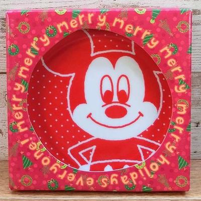 ディズニー 通販 ミッキーマウス クリスマス ケーキプレート デッドストック 新品 無料ギフトラッピング ミッキー ケーキ皿 ギフト お土産 おみやげ 化粧箱入り