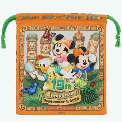 東京ディズニーシー ディズニー 通販19周年 キンチャク 無料ギフトラッピング ミッキーマウス ミニーマウス アニバーサリー ディズニーリゾート おみやげ お土産  ドナルド グーフィー 巾着