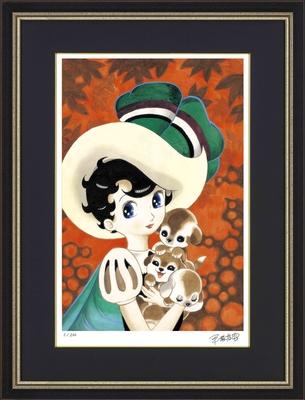 手塚治虫版オリジナル版画「サファイアと子犬」